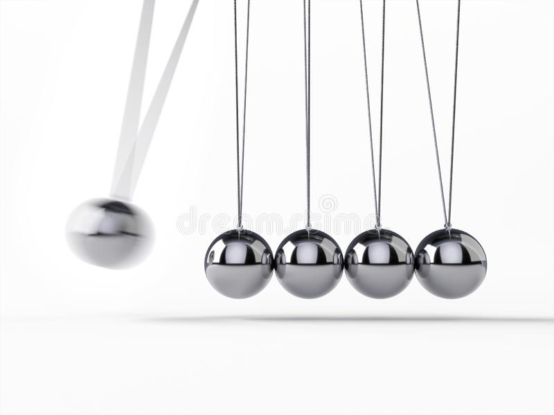 Balancing Balls Newton`s Cradle. 3d rendering,conceptual image stock illustration
