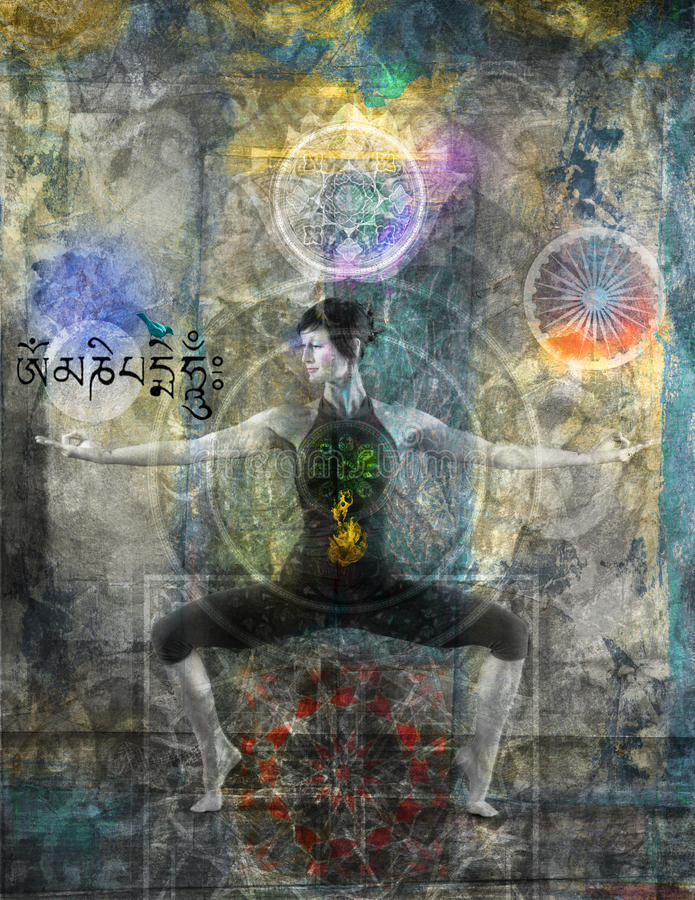 Balancing The Chakras. Woman in yoga stance pose with abstraction of chakras