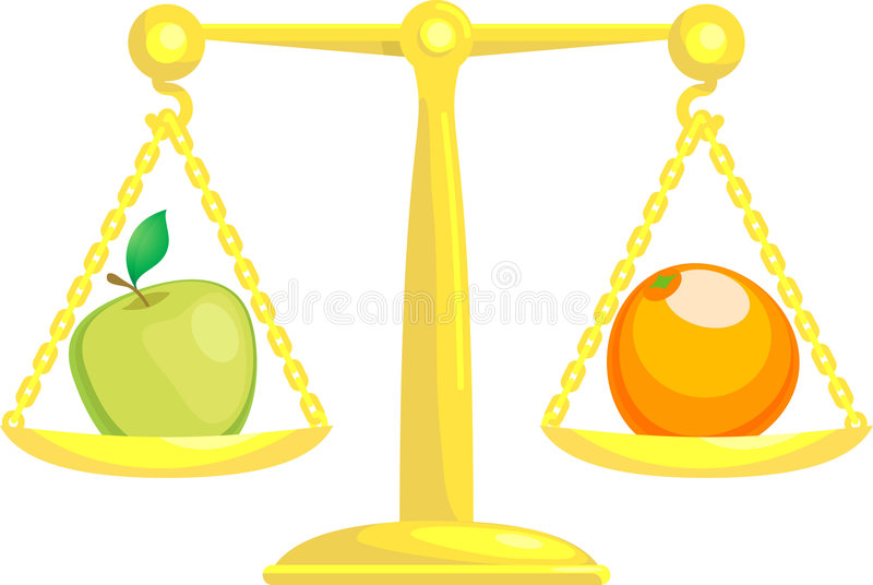 Balancing Or Comparing Apples. A concept vector illustration showing an apple and an orange on scales. Attempting to compare apples and oranges vector illustration