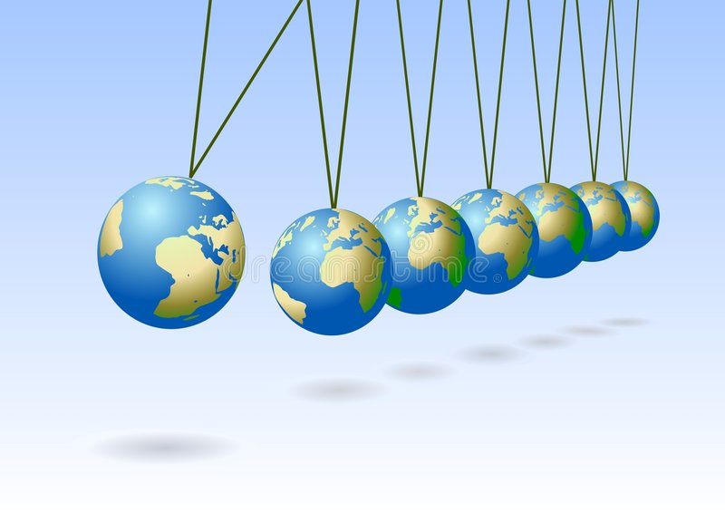 Balancing earth spheres stock image