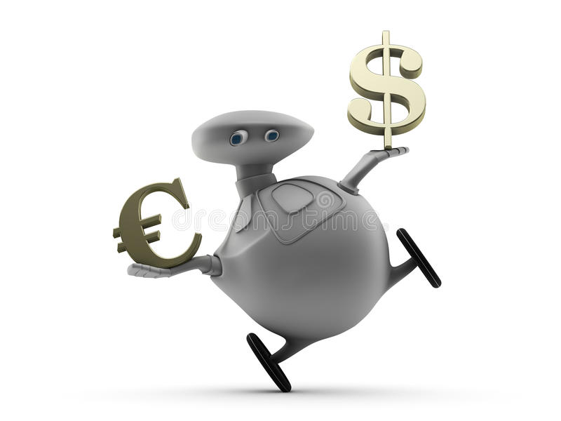 Balancing Euro and Dollar. A robot on wheels trying to balance while holding symbols for the Euro and the US Dollar in each hand