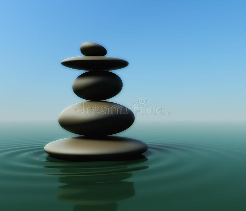 Balancing pebbles on water royalty free illustration