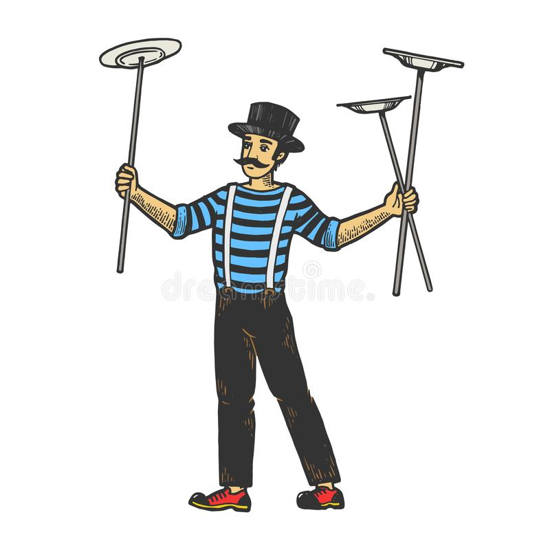 Balancing plates on sticks sketch engraving vector. Circus juggler balancing plates on sticks performance color sketch engraving vector illustration. Scratch royalty free illustration