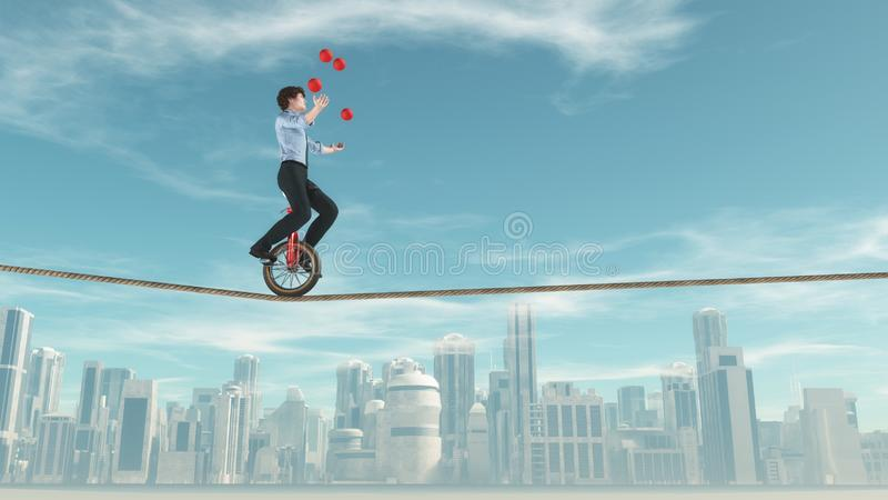 Balancing on a rope royalty free stock photo