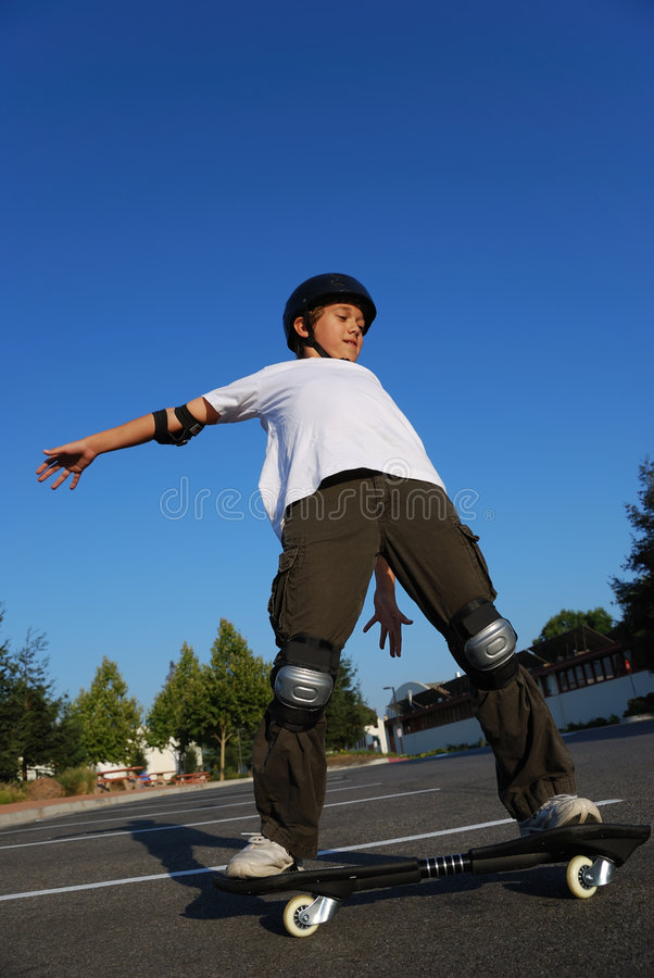 Balancing the Skateboard stock image