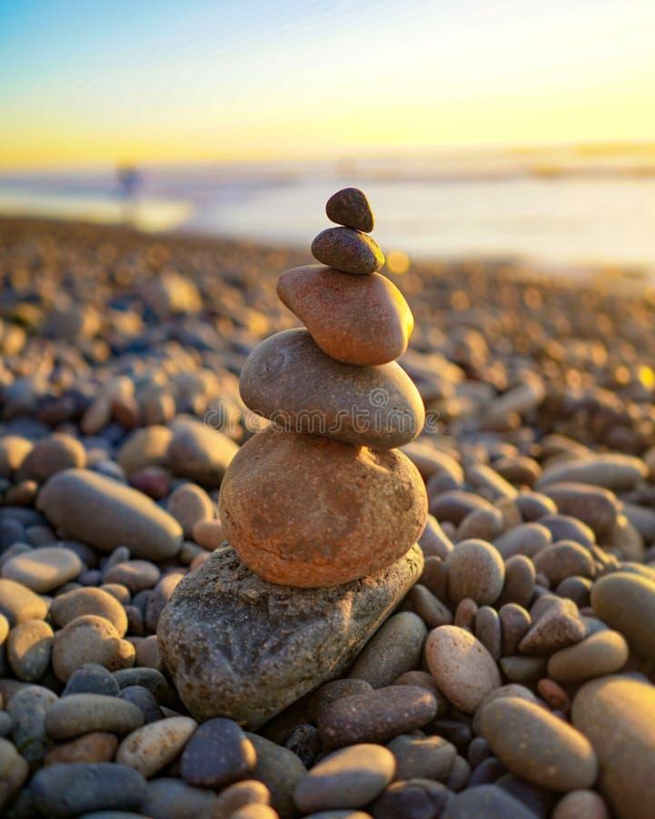 Balancing stones. At the beach in Encinitas, California stock photo