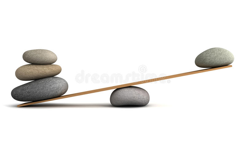 Balancing stones concept 3d illustration. Balancing stones 3d illustration isolated on white background vector illustration