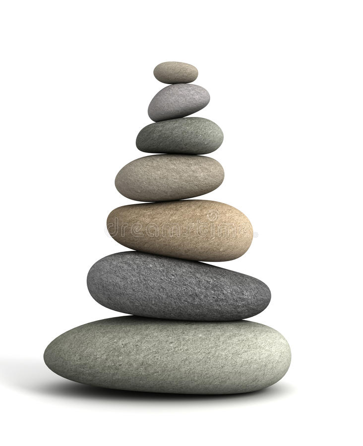Balancing stones concept 3d illustration royalty free illustration