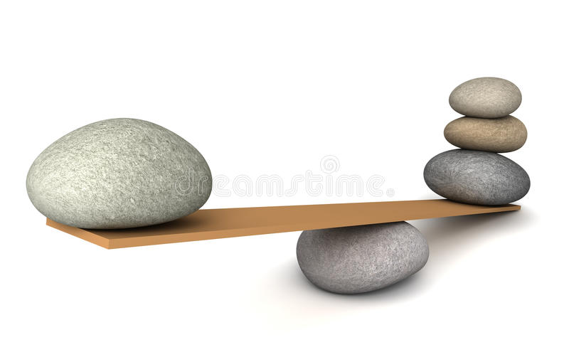 Balancing stones concept 3d illustration. Balancing stones 3d illustration on white background stock illustration