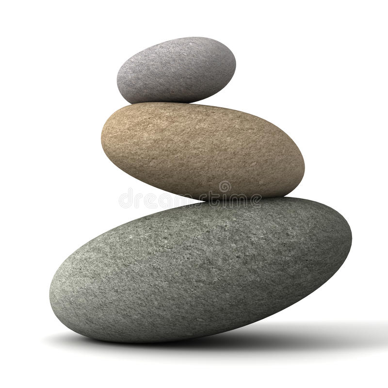 Balancing stones 3d illustration stock illustration
