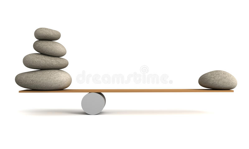 Balancing stones 3d illustration. Isolated on white background stock illustration