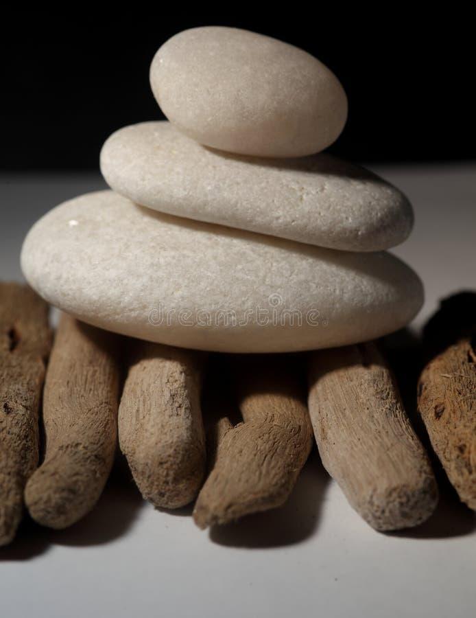 Balancing Stones on drift wood (vertical)