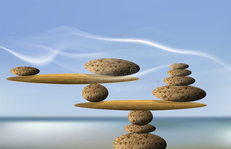Balancing Stones, illustration. stock illustration