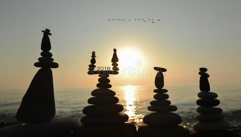 2018 in balancing stones royalty free stock image