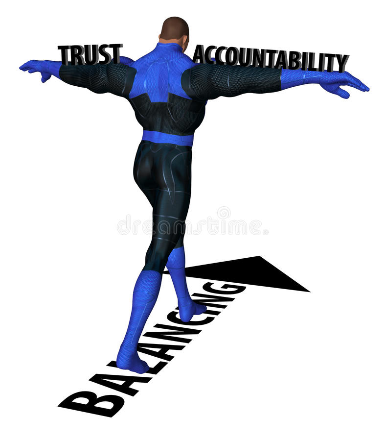 Balancing Trust And Accountability. Man shouldering trust and accountability walking and balancing stock illustration