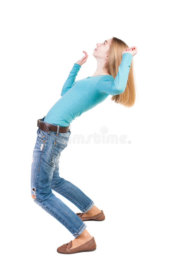 Balancing young woman. or dodge falling woman. Rear view people collection. backside view of person. Isolated over white background. She leaned heavily back royalty free stock image