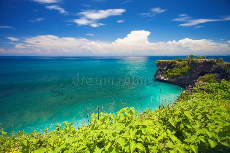 Balangan海滩看法在巴厘岛,印度尼西亚,亚洲 免版税图库摄影