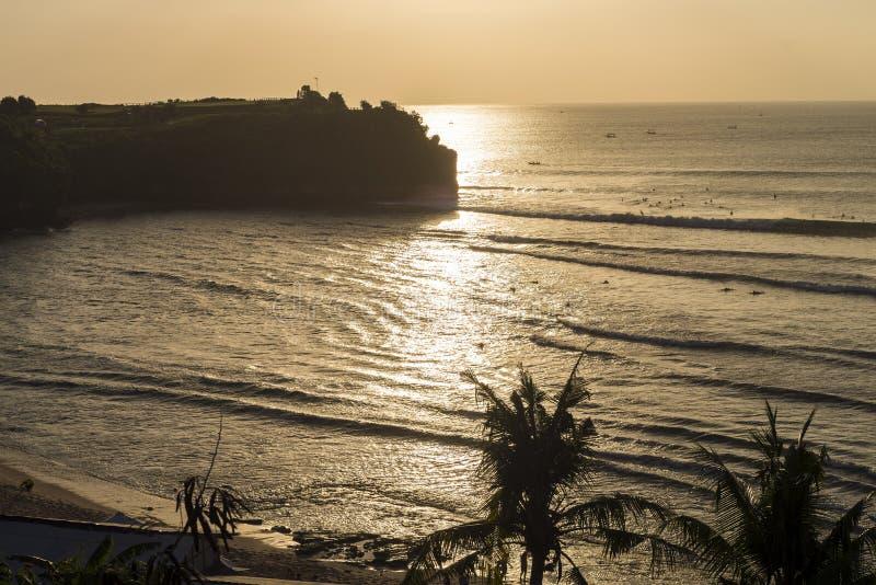 Balangan海滩,巴厘岛,印度尼西亚金黄小时视图  免版税图库摄影