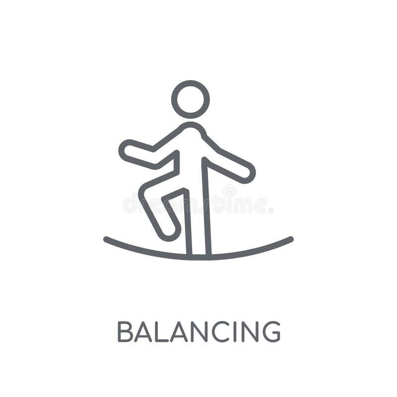 Balansera den linjära symbolen Modern översikt som balanserar på logobegrepp stock illustrationer