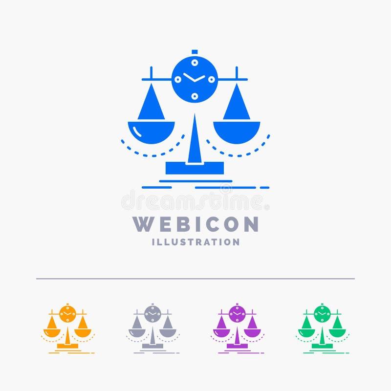 Balanserat ledning, mått, sammanställningsruta, för färgskåra för strategi som 5 mall för symbol för rengöringsduk isoleras på vi stock illustrationer