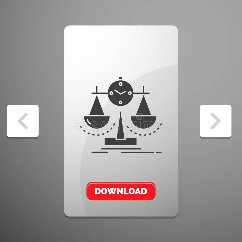 Balanserat, ledning, mått, sammanställningsruta, strategiskårasymbol i design för Carousalpagineringsglidare & röd nedladdningkna stock illustrationer