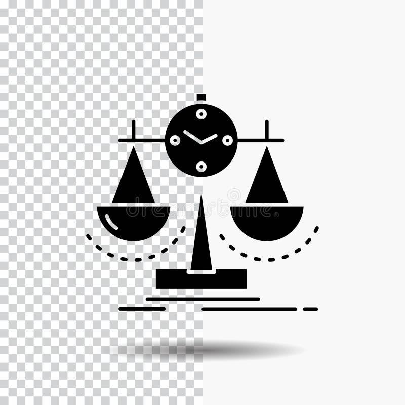 Balanserat ledning, mått, sammanställningsruta, strategiskårasymbol på genomskinlig bakgrund Svart symbol royaltyfri illustrationer