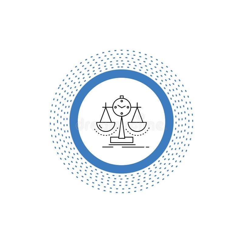 Balanserat ledning, m?tt, sammanst?llningsruta, strategilinje symbol Vektor isolerad illustration stock illustrationer