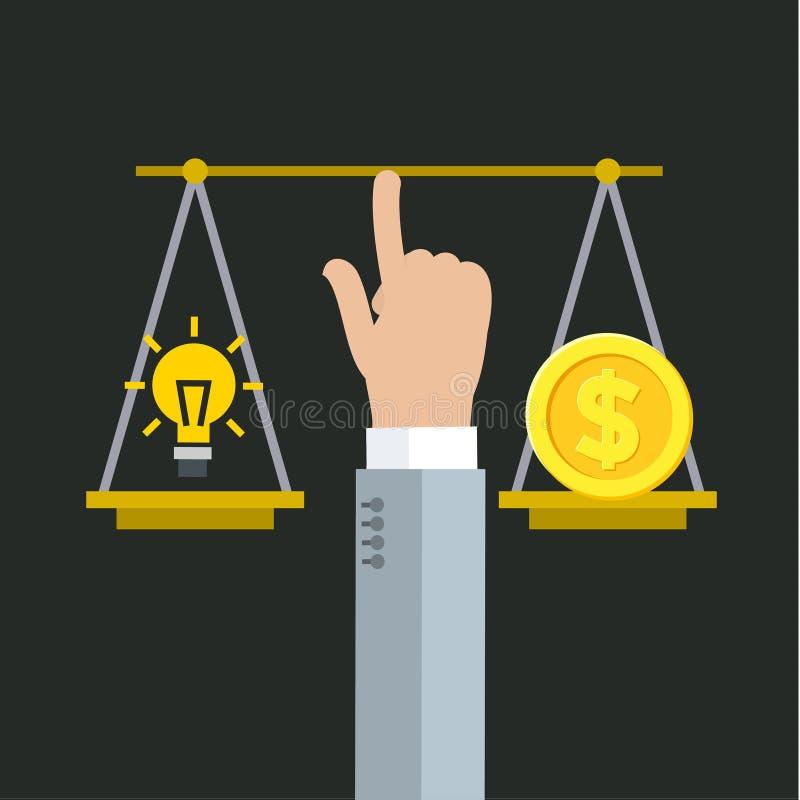 Balansować między pieniądze i pomysłem royalty ilustracja