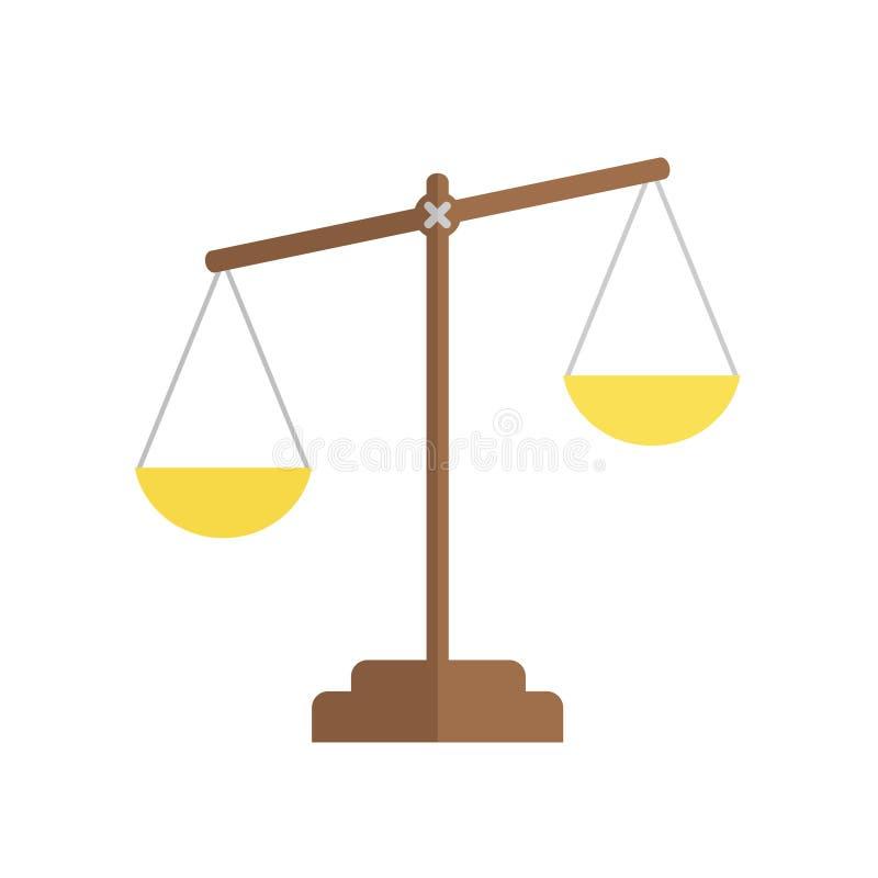 Balansowa ikona Prawo balansowy symbol Sprawiedliwość waży ikonę Płaski desi ilustracja wektor