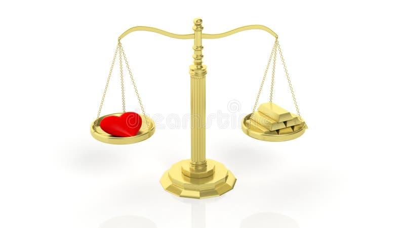 Balansowa skala z czerwonym sercem i złocistymi barami ilustracja wektor