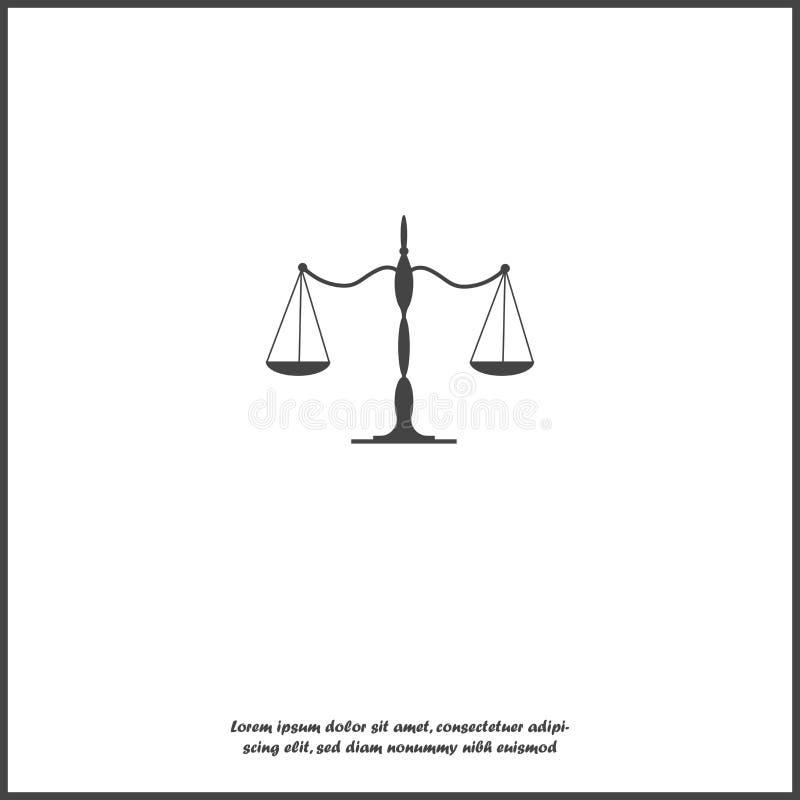 Balansowa szalkowa wektorowa ikona na białym odosobnionym tle ilustracja wektor
