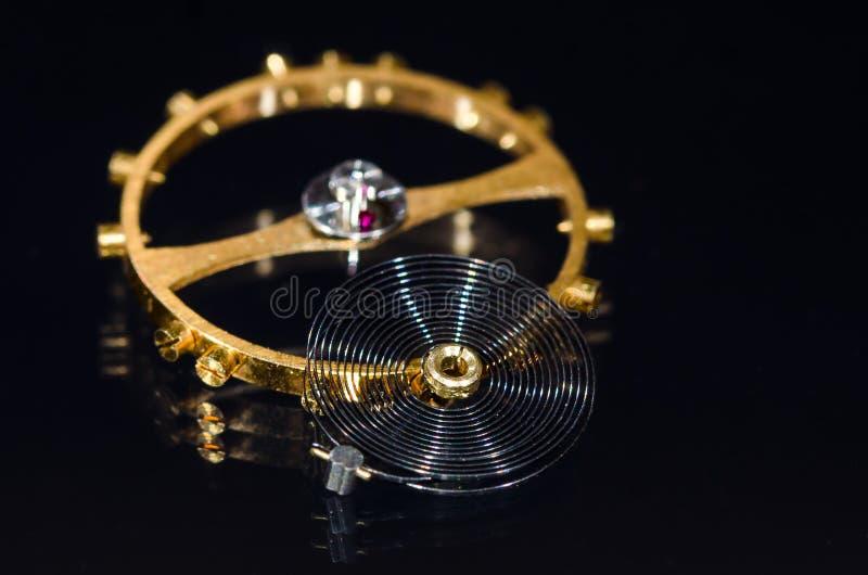 Balansowego koła, Hairspring i rubinu Impulsowy Rolkowy klejnot, zdjęcia stock