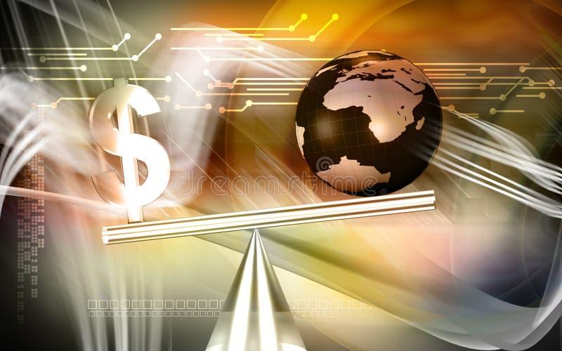 balansowy dolarowy znak ilustracja wektor