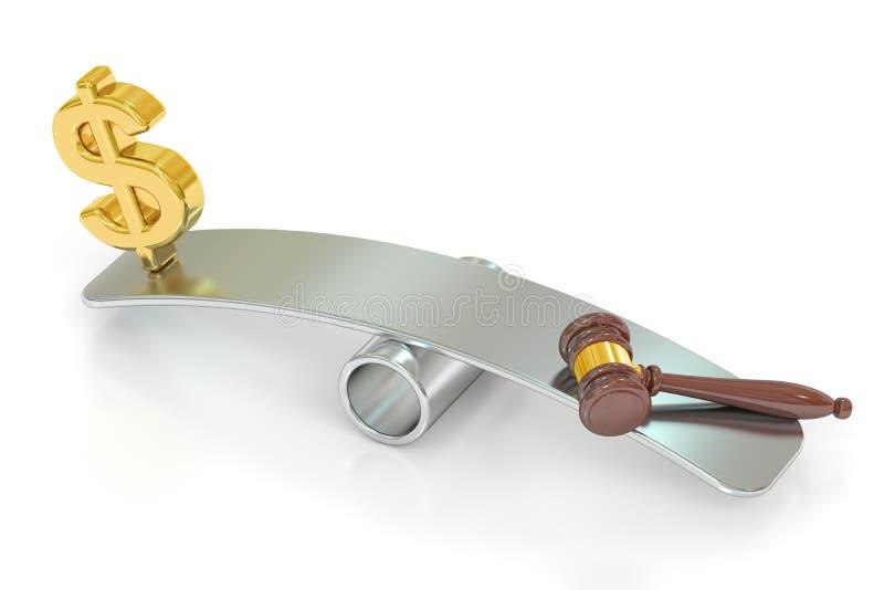 Balansowy pojęcie, prawo i pieniądze, świadczenia 3 d royalty ilustracja