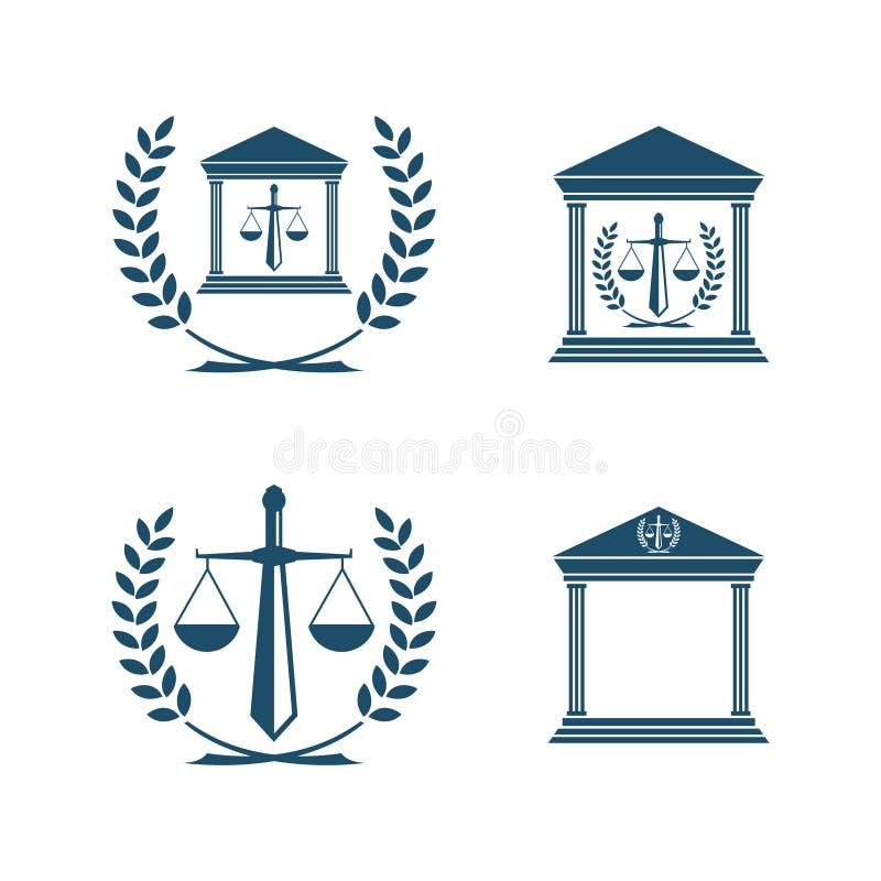 Balansowy prawo ikony emblemat odizolowywający na białym tle ilustracja wektor