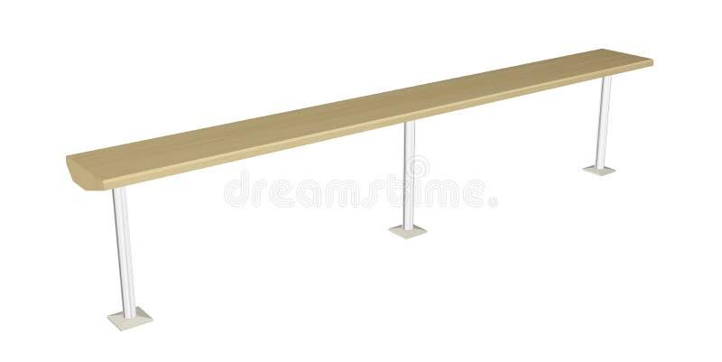 Balansowy promień lub drewniany poręcz, 3D ilustracja ilustracji