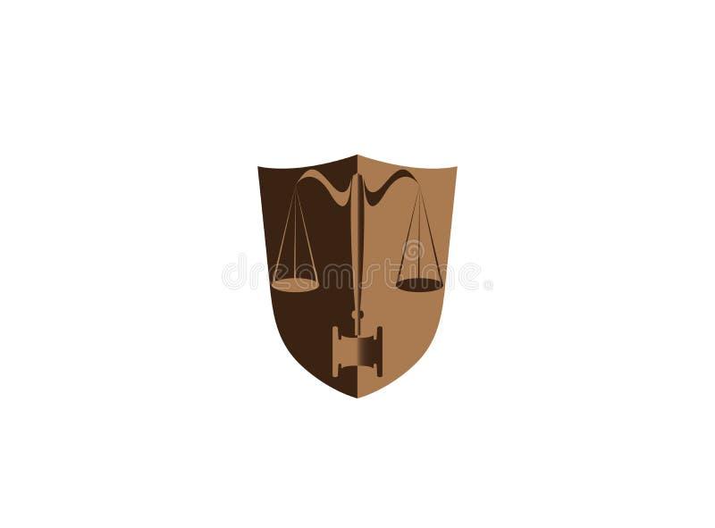 Balansuje adwokata w osłona prawniku dla logo projekta i młotkuje ilustracja wektor