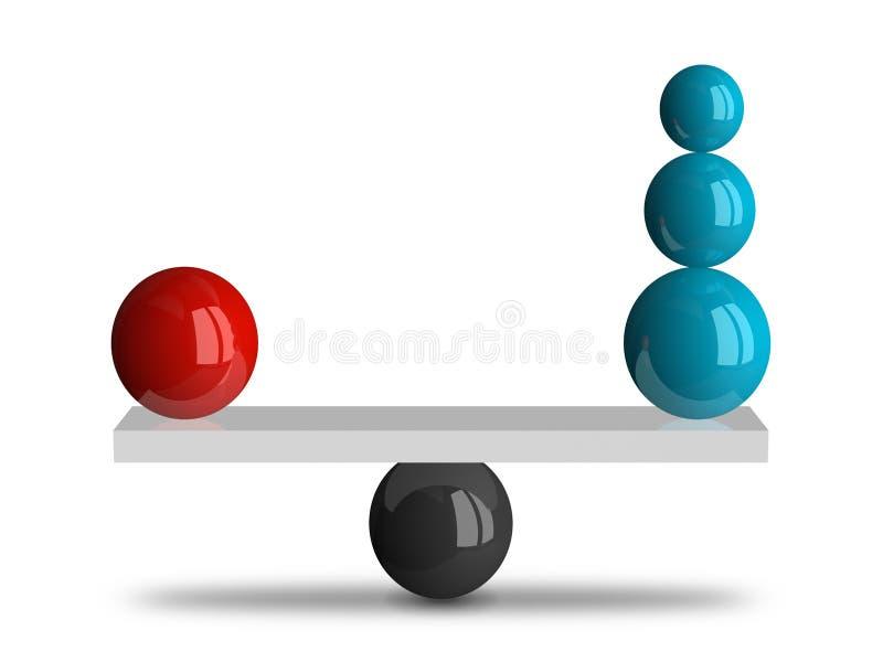 Balanza con las esferas ilustración del vector