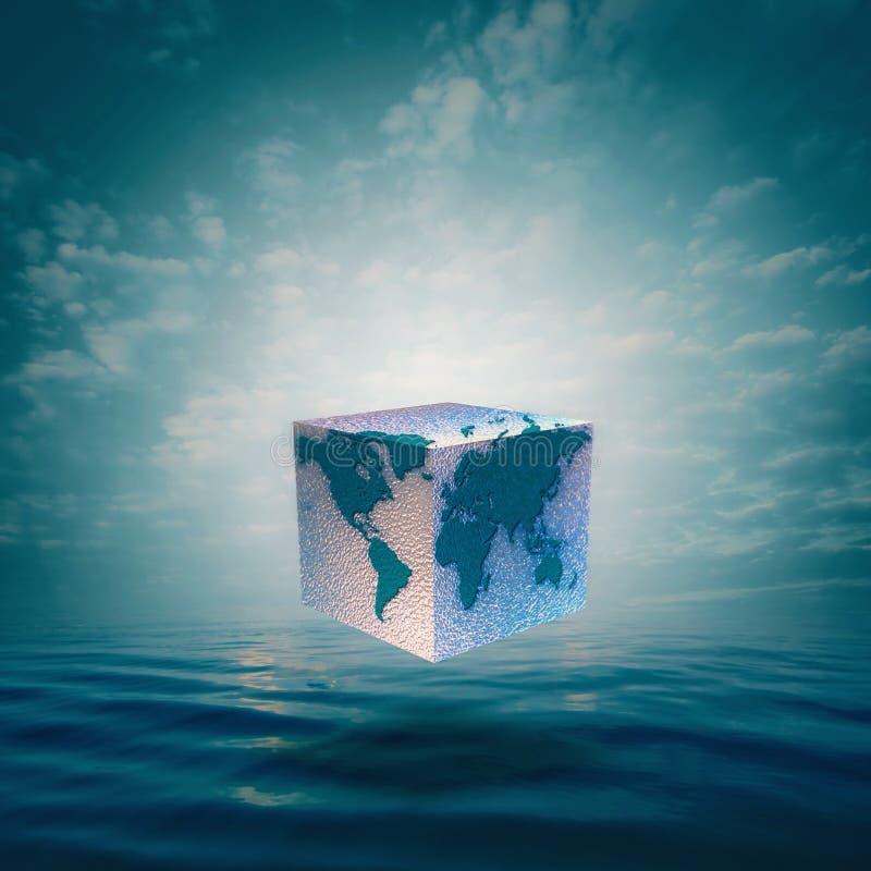 Balanza de Eco con el mundo del cubo imagen de archivo