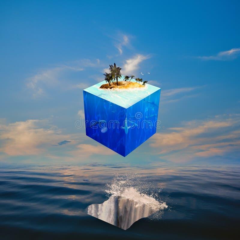 Balanza de Eco con el mundo del cubo foto de archivo libre de regalías