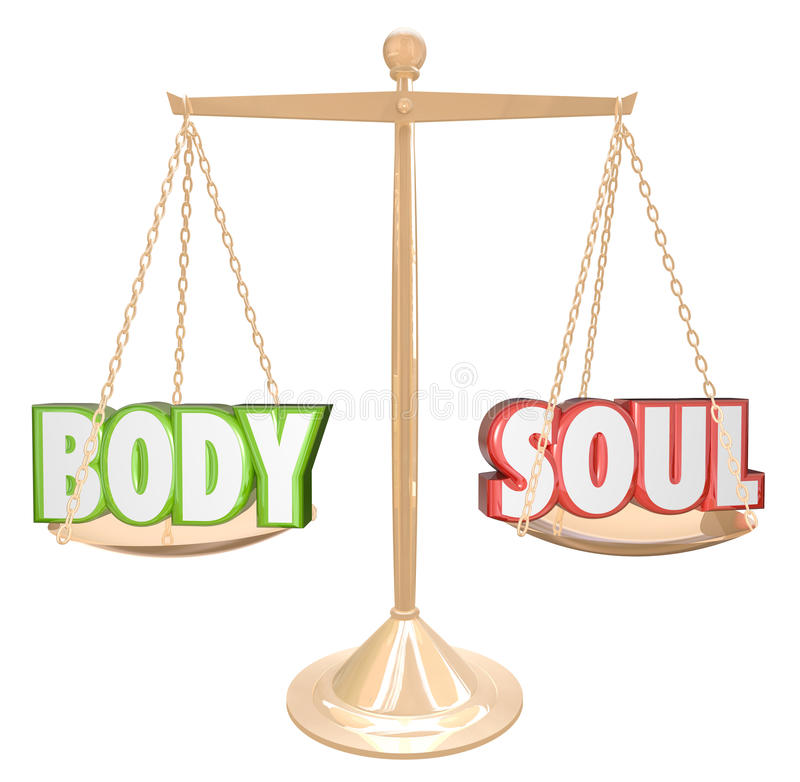 Balanza de la escala de las palabras del cuerpo y del alma que pesa salud total ilustración del vector