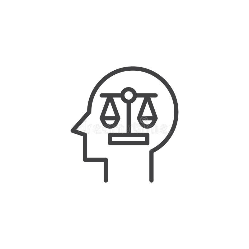 Balanza de la escala en icono del esquema de la cabeza humana stock de ilustración