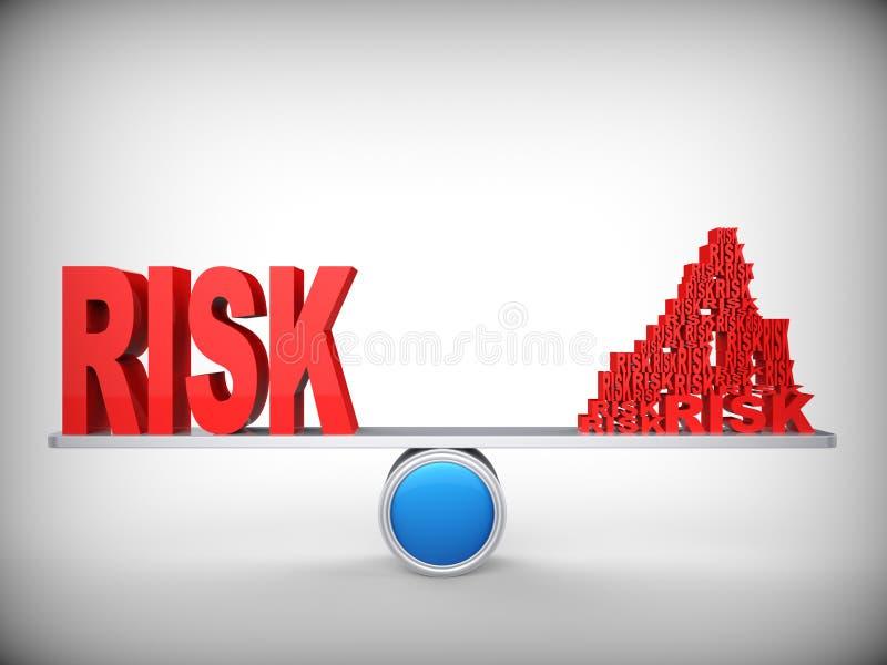 Balanza de riesgos. Concepto abstracto. stock de ilustración
