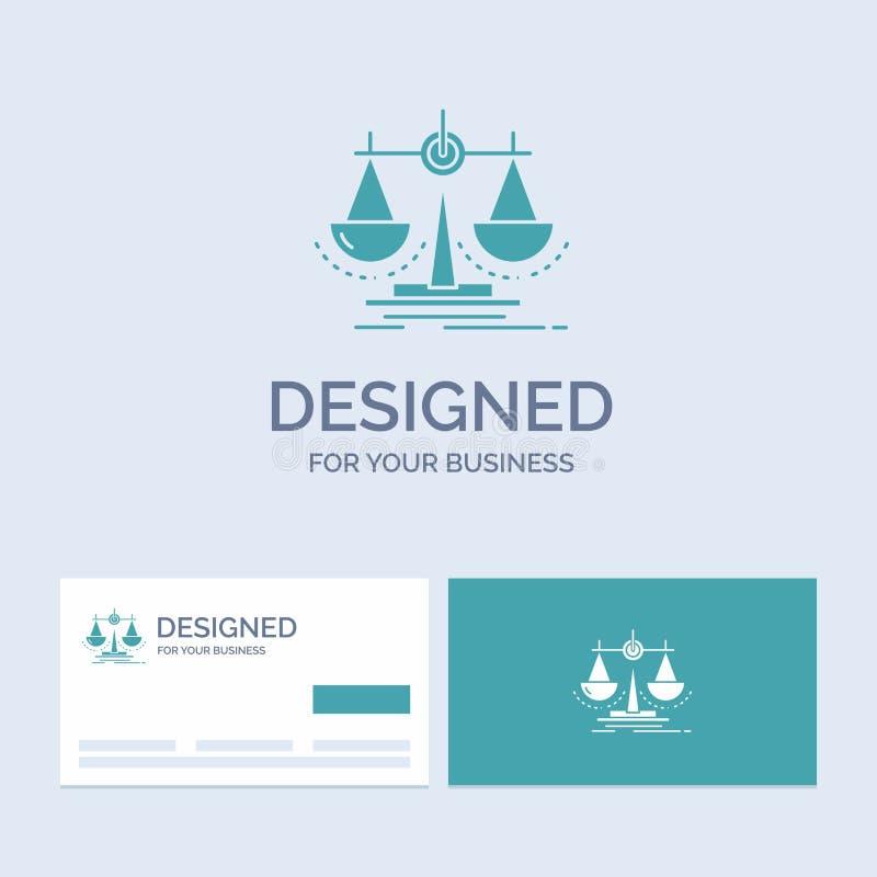 Balanza, decisión, justicia, ley, negocio Logo Glyph Icon Symbol de la escala para su negocio Tarjetas de visita de la turquesa c ilustración del vector