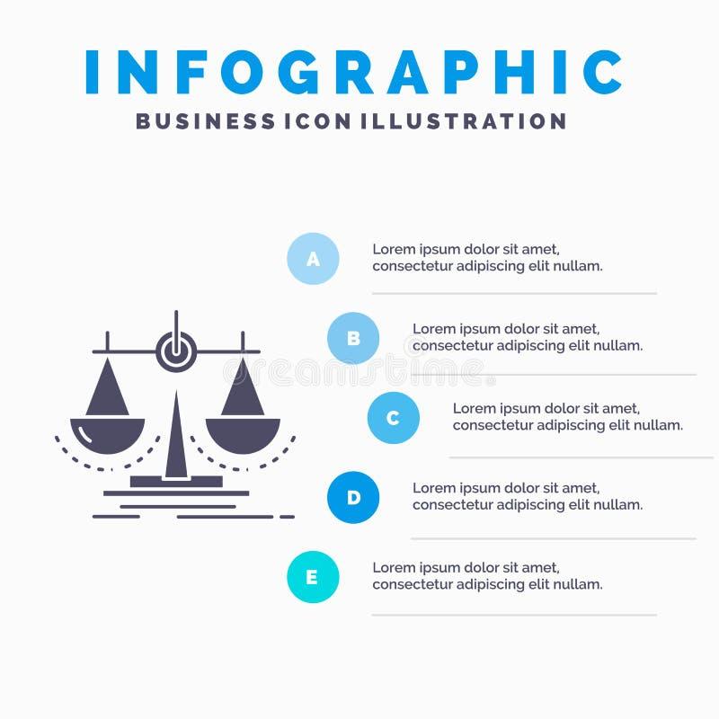 Balanza, decisi?n, justicia, ley, plantilla de Infographics de la escala para la p?gina web y presentaci?n Icono gris del GLyph c libre illustration