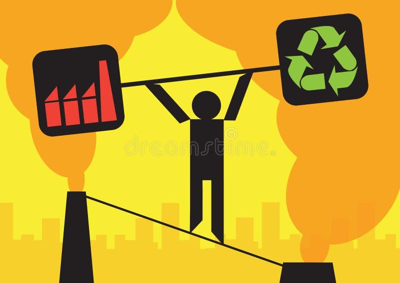 Balanza del ambiente de la industria ilustración del vector