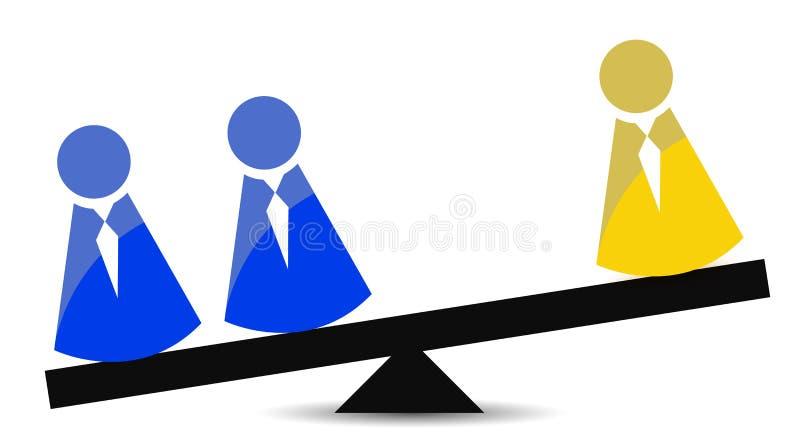 Balanza del concepto del trabajo en equipo stock de ilustración