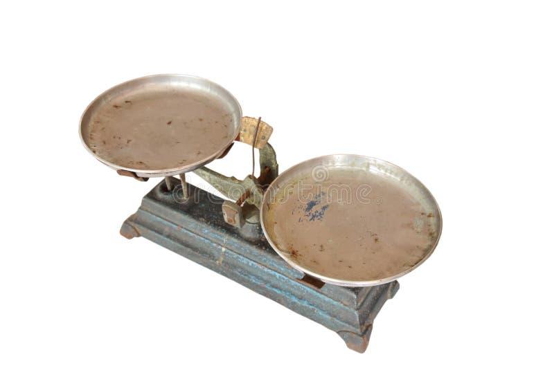 Balanza del hierro chino para la medicina del peso en el fondo blanco imágenes de archivo libres de regalías