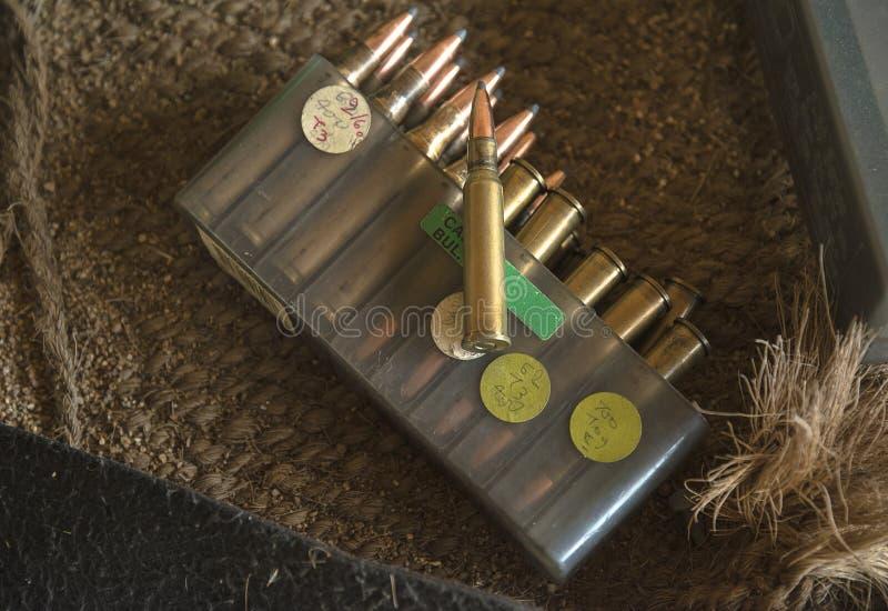 Balas de caça na caixa imagens de stock