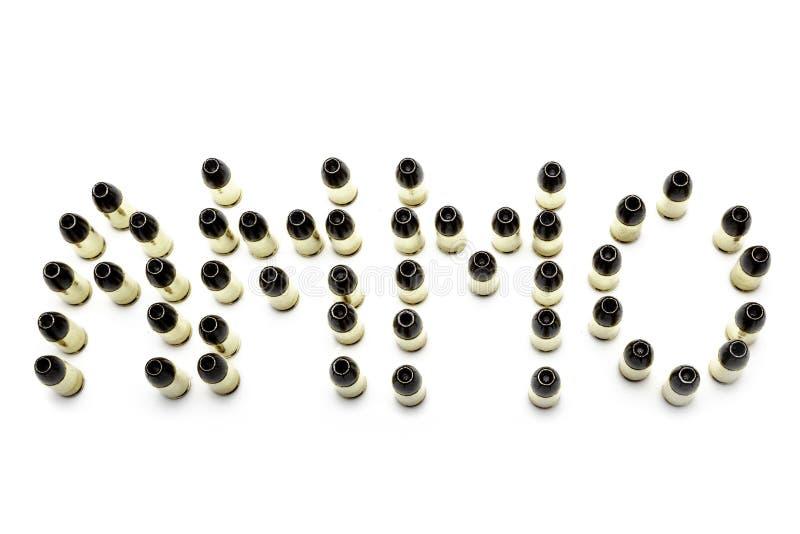 balas del hollowpoint de 9m m dispuestas para explicar la munición fotografía de archivo